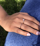 Stacking Ring Set Rose Gold Solitaire Diamond Engagement + Pearl Ring Band