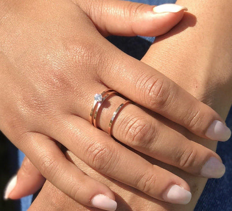 Rose Gold Solitaire Diamond Engagement