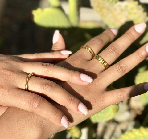 Women's Gold Coachella Desert Stacking Ring Set of 3