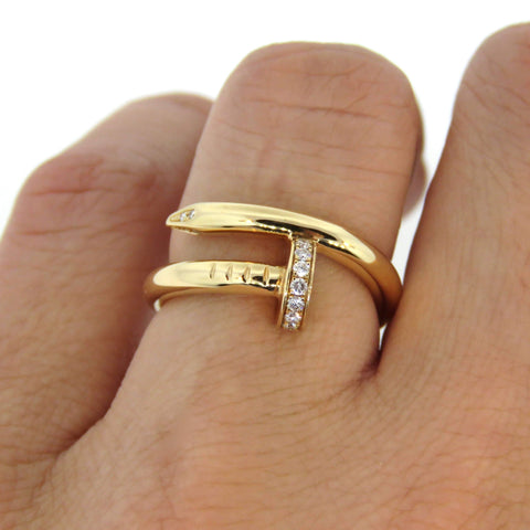 Women's 18k Gold Diamond Paved Nail Ring - 1 Øak
