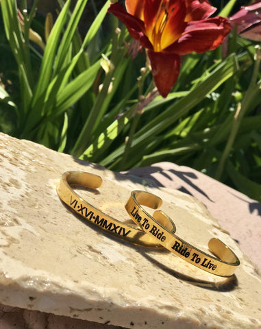 Personalized Engraved Men's 18K Gold Cuff Bracelet Bangle
