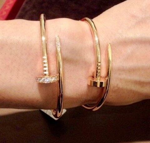 18k Gold Cuff Nail Bracelet Bangle - 100% Exclusive