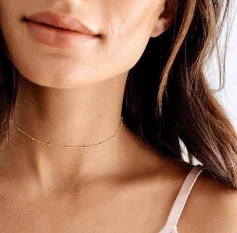 image_of_14k_Dainty_Ball_Chain_Choker_Adjustable_Necklace_1oakJewelry.com