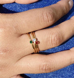 Women's 18k Gold Birthstone Stone Stacking Ring Set