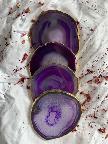 Purple Agate Coasters Gold Trim