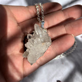 Clear Quartz Cluster Pendant with 60cm silver chain