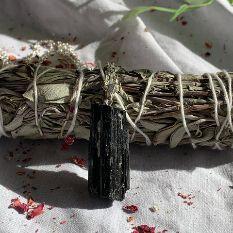 Black Tourmaline Pendant with Silver Chain 60cm
