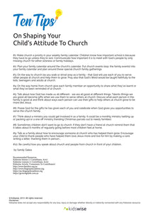 Ten Tips On Shaping Your Child's Attitude To Church