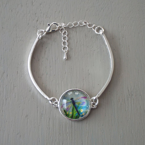 Silver plated bar bracelet - 18mm greeny blue dragonfly cabochon