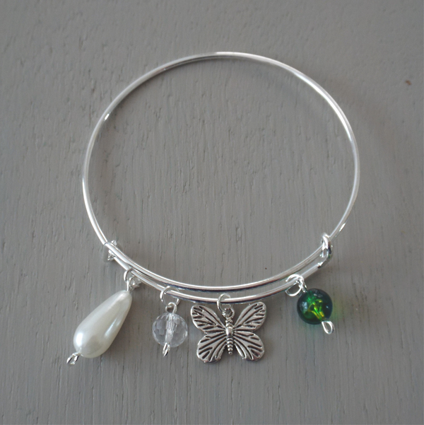 Adjustable silver plated bangle with butterfly charm
