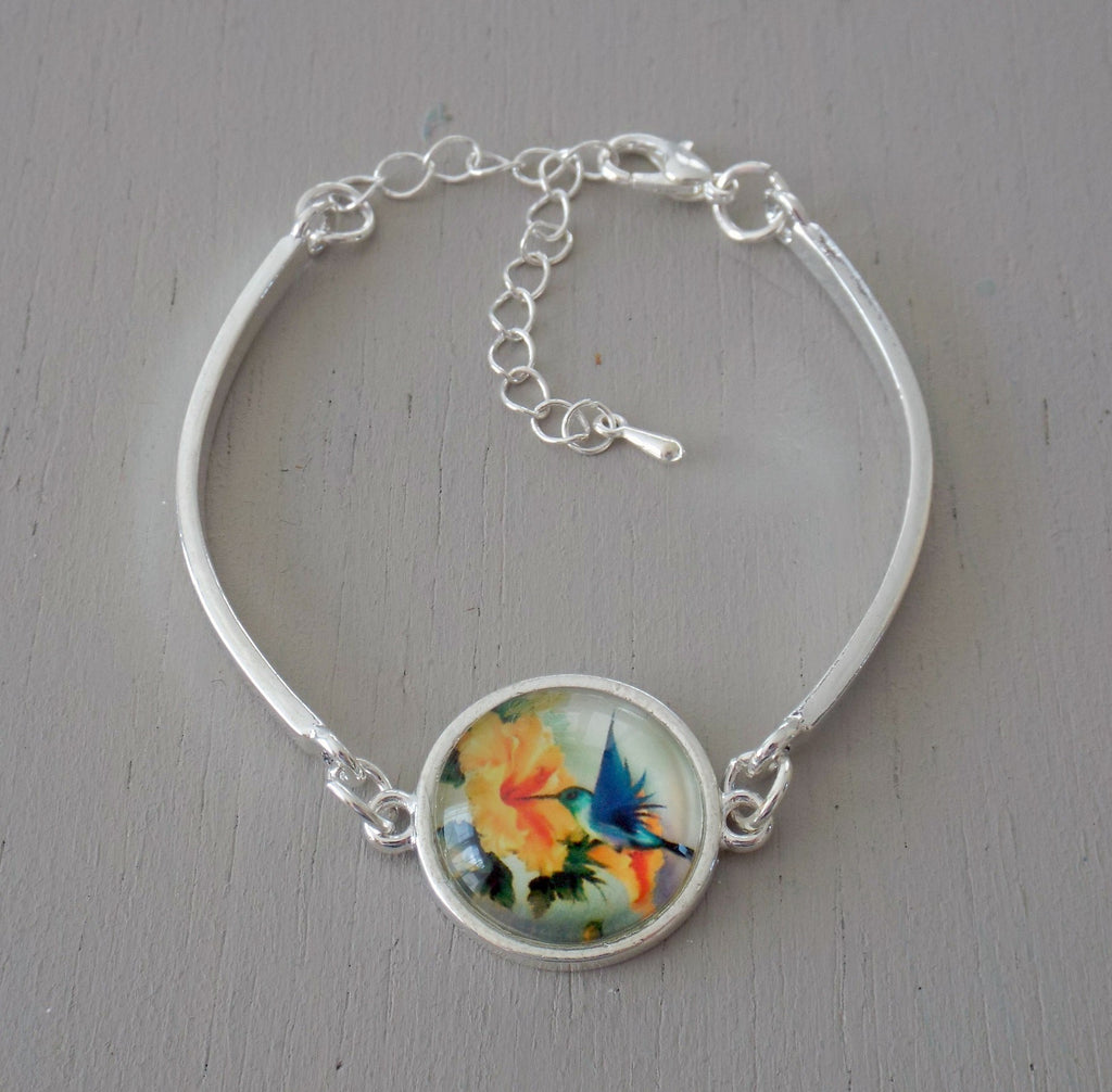 Silver plated bar bracelet, yellow & blue hummingbird 18mm focal