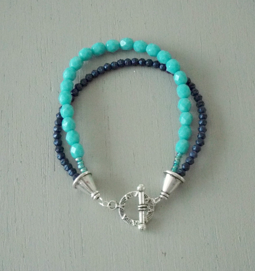 Double strand bracelet with turquoise & midnight blue beads