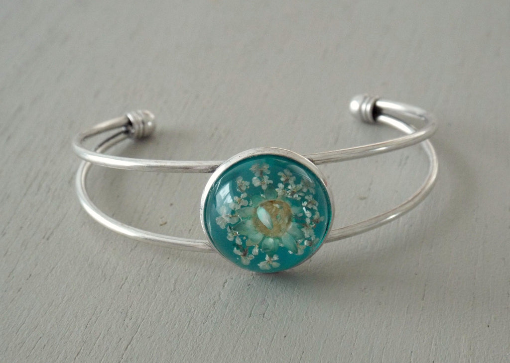 Bangle with 20mm aqua floral focal
