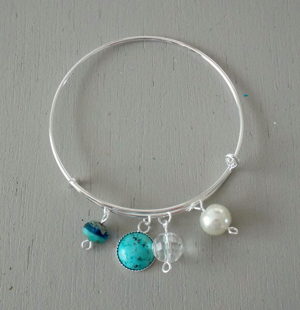 Adjustable bangle, turquoise mini focal, sea green / pearl accents