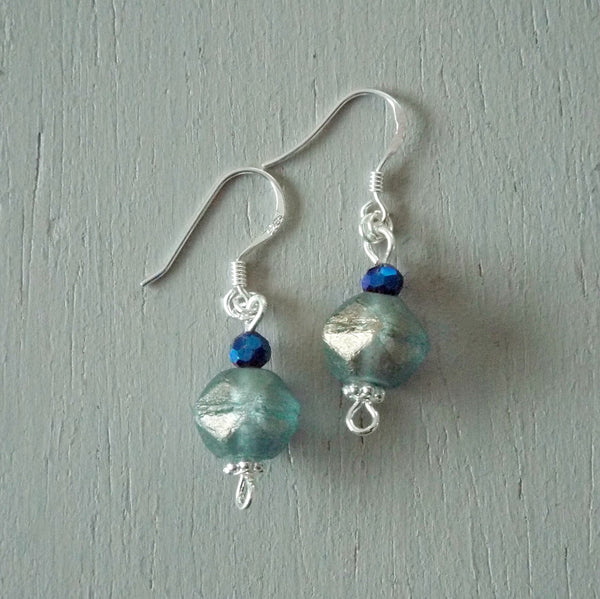 Earrings - short drop with aqua silver-lustre polygons, STS hooks