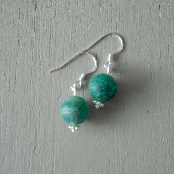 Green crackle agate earrings