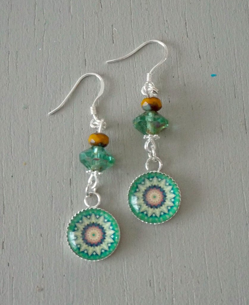 Earrings with 12mm green mandala mini focals, green & mustard beads