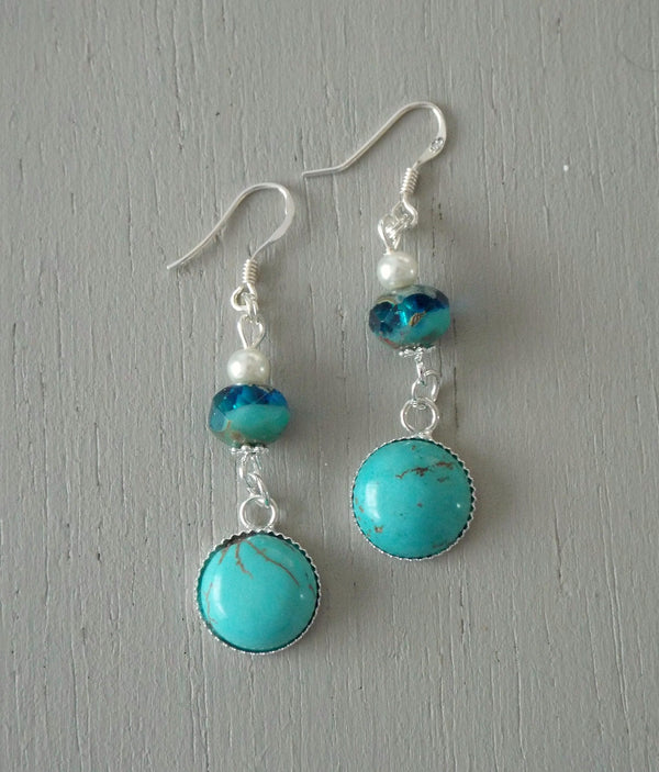Earrings with 12mm turquoise howlite mini focals, sea green & ivory beads