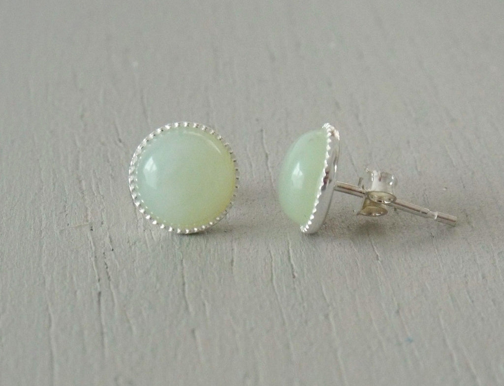Earrings with 8mm jade stg silver studs