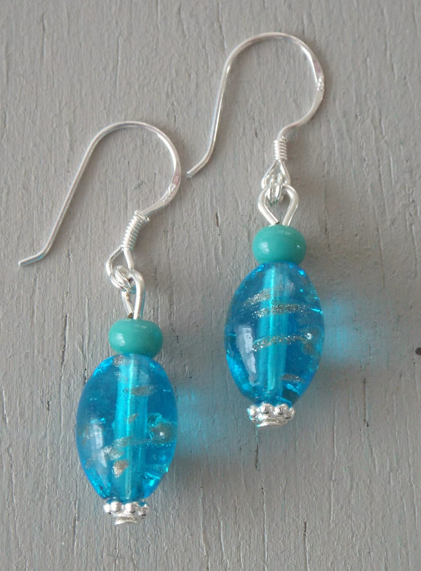 Earrings with blue gold striped lozenges, turquoise minis