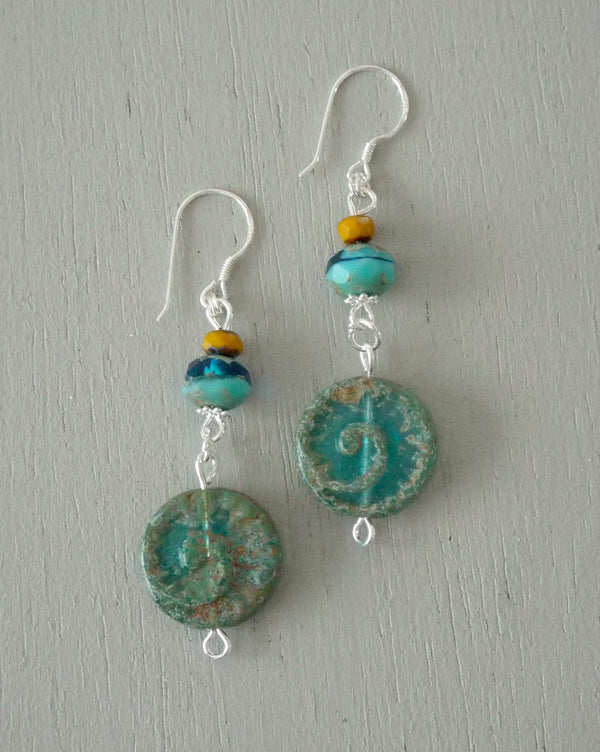 Earrings with green ammonite coins with sea green & mustard beads