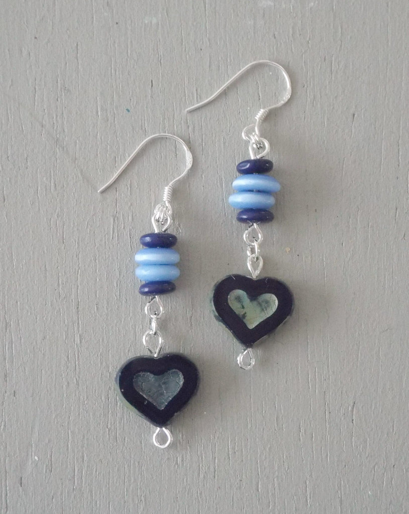Earrings with midnight blue hearts, blue & navy disc stack