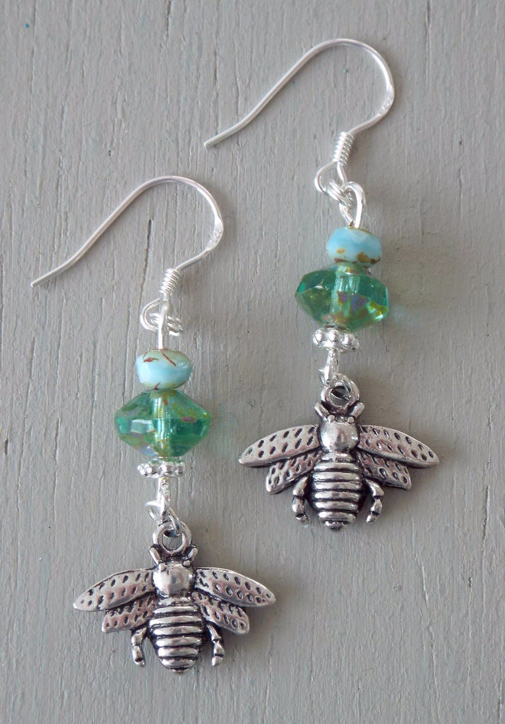 Earrings with old silver bee charms, green / aqua beads