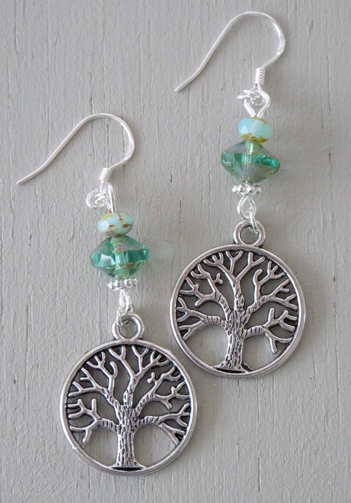 Earrings with tree-of-life charms, green saucers, aqua minis