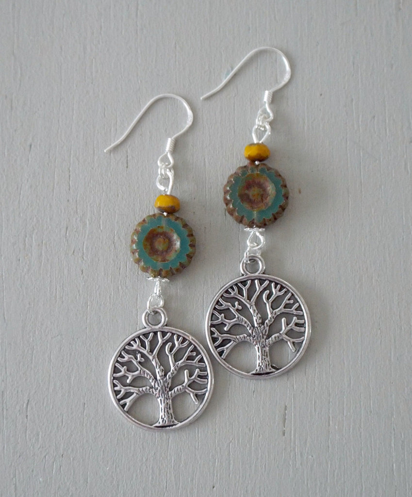 Earrings with tree-of-life discs, green disc & mustard minis