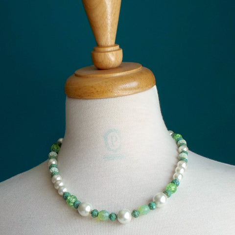 Necklace - ivory glass pearl and green bead mix, chunky sp chain, toggle clasp