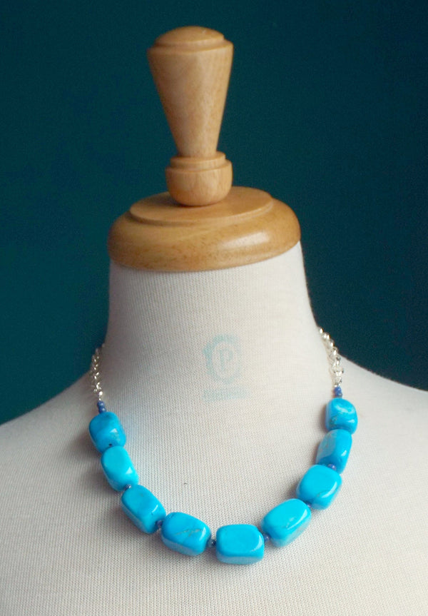 Blue magnesite gemstone nuggets necklace