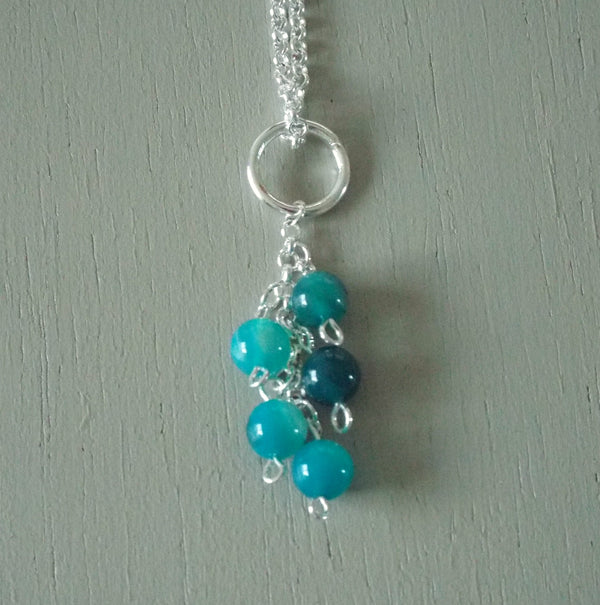 Blue green agate gemstone cluster pendant