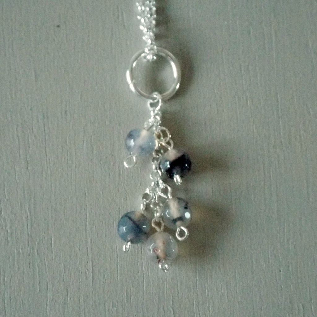 Neutral agate gemstone cluster pendant