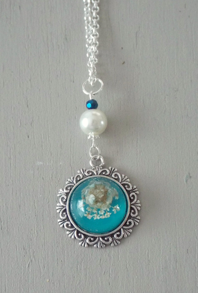 Pendant with 20mm aqua floral focal, ivory pearl / sparkly midnight mini