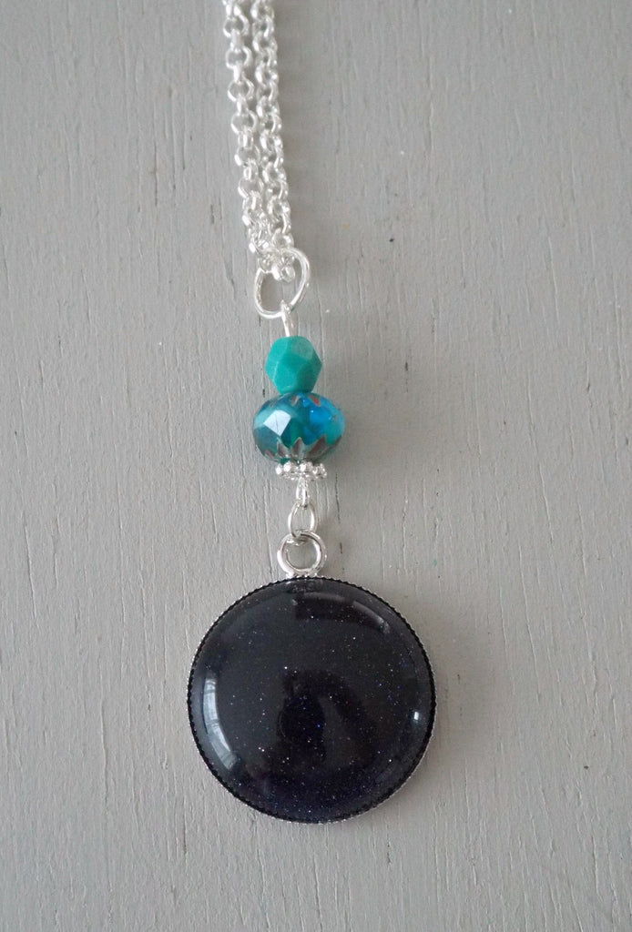 Pendant with 25mm blue goldstone focal, ocean cruller / turquoise mini