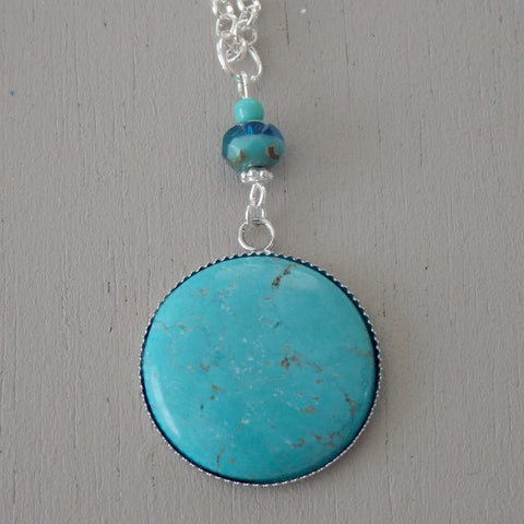 Turquoise howlite gemstone pendant, sea green & mint beads