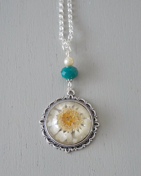 Pendant with 25mm white daisy focal, dark turquoise rondelle / mini pearl