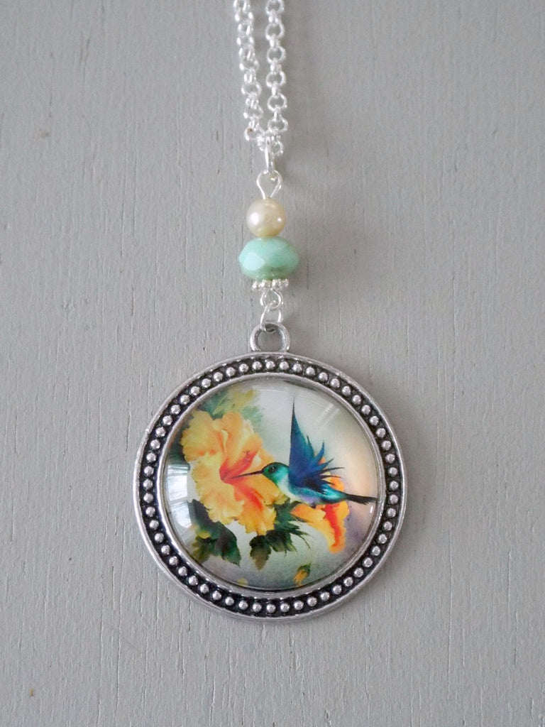 Pendant with 30mm blue & yellow hummingbird focal, mint rondelle / vintage mini pearl