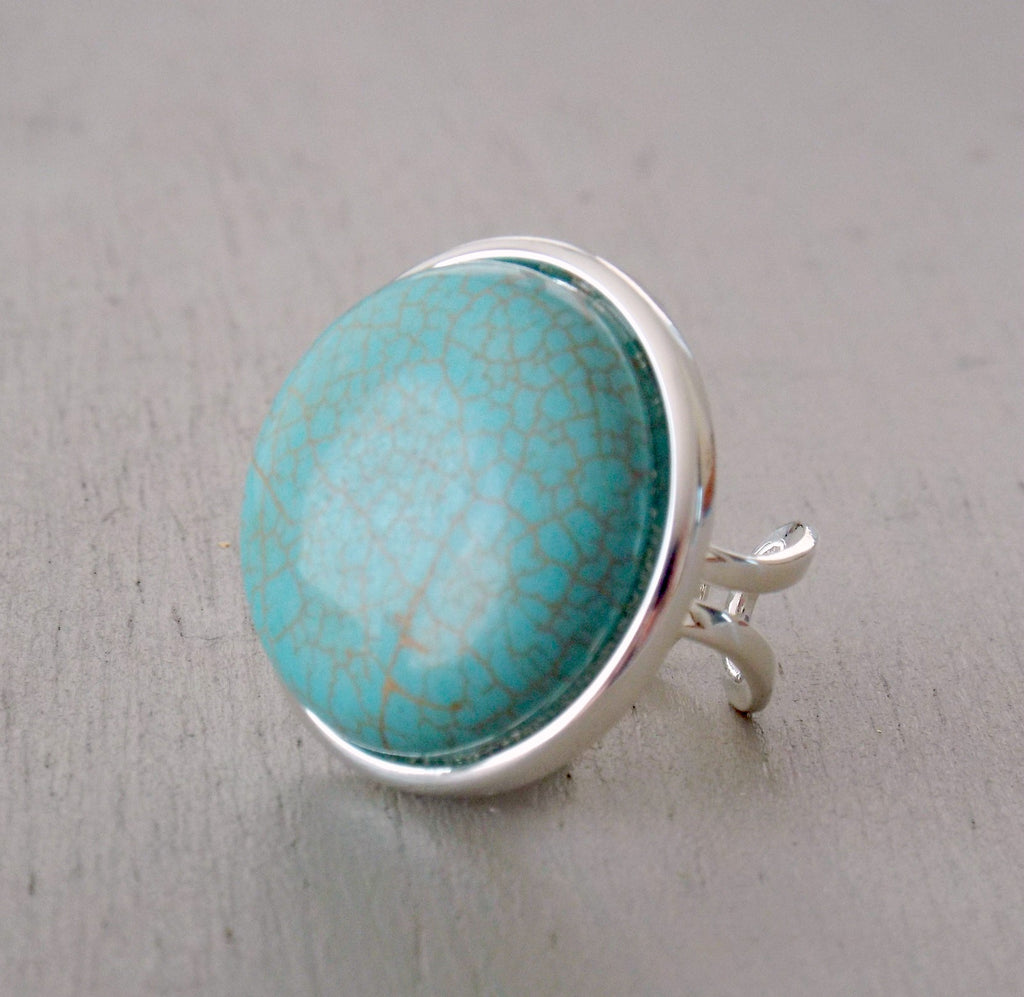 Turquoise howlite gemstone fully adjustable ring