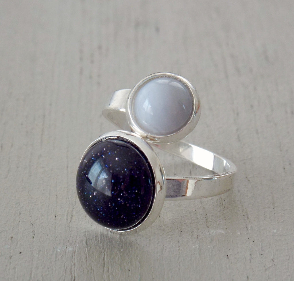 Front wrap style ring with 12mm blue goldstone & blue lace agate
