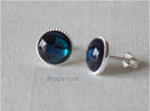 Earrings with 8mm blue paua shell cabochons, sterling silver studs