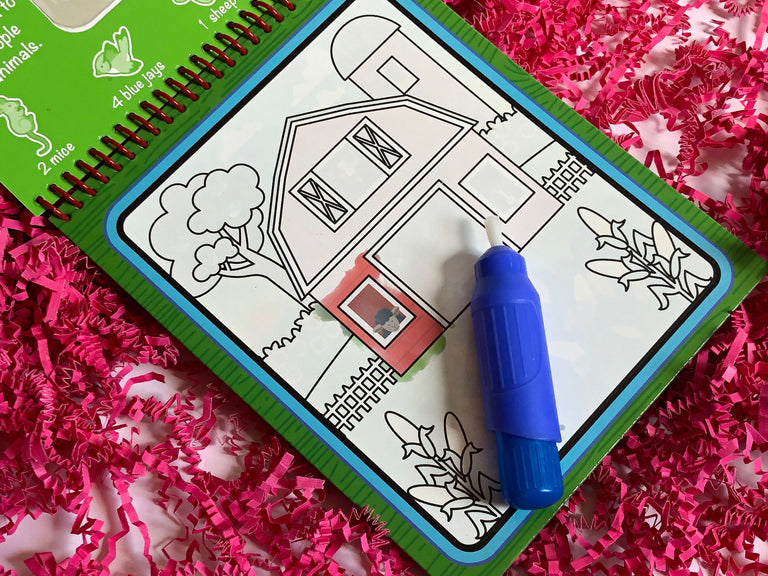 mess free coloring, farm animal coloring book, Melissa and Doug water wow