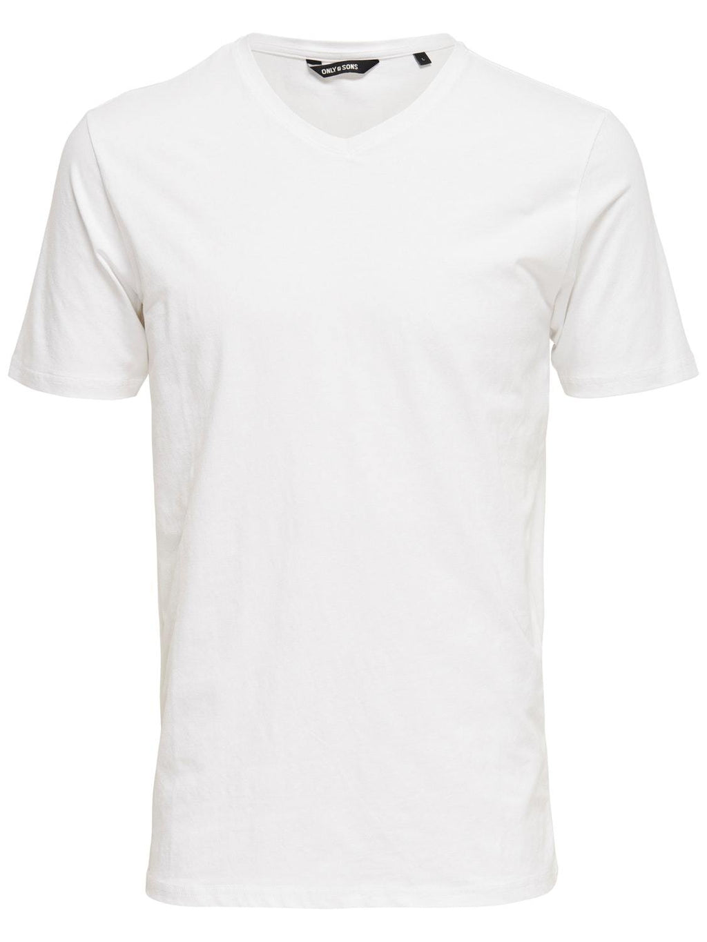 Basic Stretch T-Skjorte V hals - White