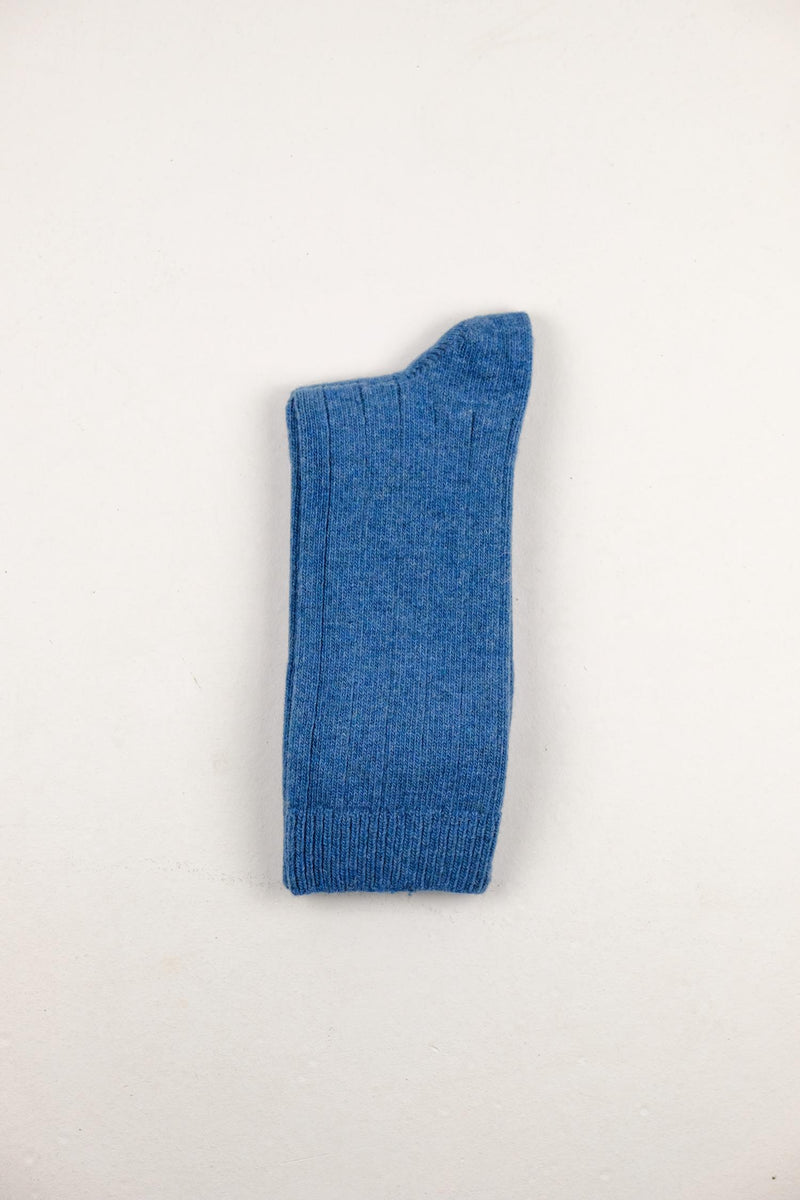 The Basic Wool Sock - Blue Melange