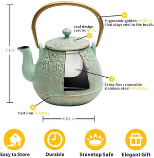 Cast Iron Teapot with Stainless Steel Infuser - Cheryls Herbs