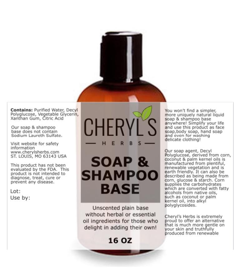 BASE PLAIN LIQUID SOAP SHAMPOO - Cheryls Herbs