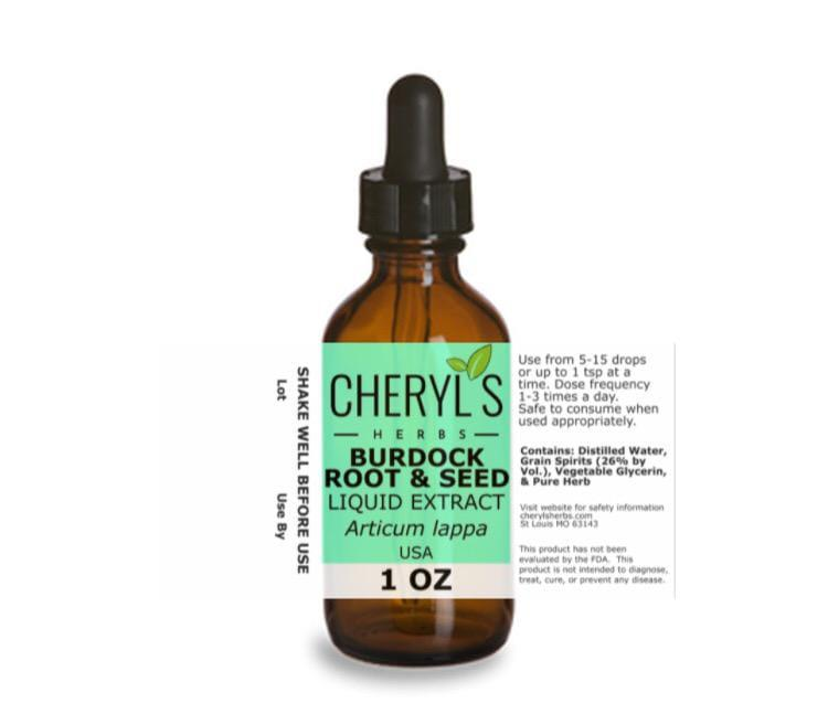 BURDOCK ROOT AND SEED LIQUID EXTRACT - Cheryls Herbs