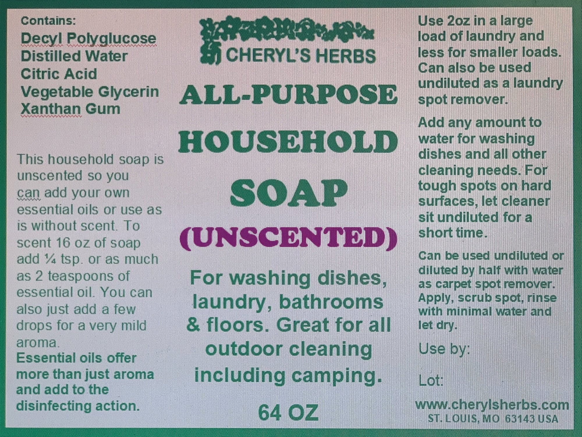 ALL PURPOSE HOUSEHOLD SOAP UNSCENTED - Cheryls Herbs