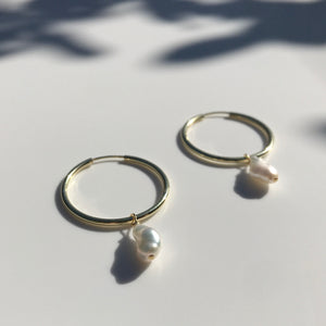 Gold Pearl Creole earrings