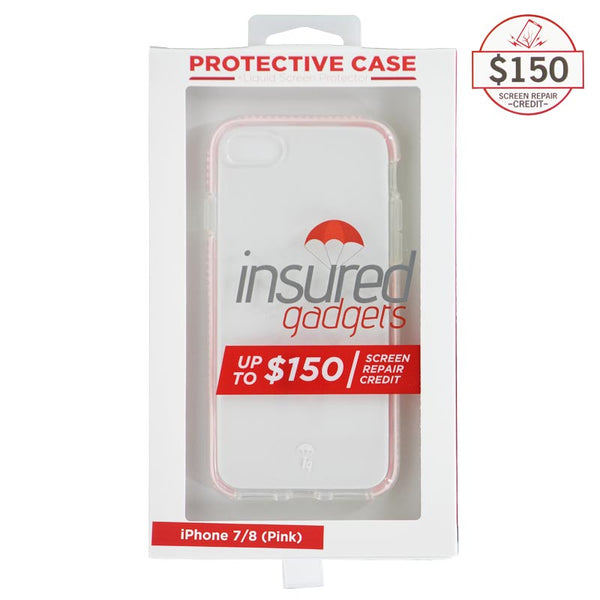 Ultra-thin protective case + Insured Gadgets up to $150.00 protection for iPhone 7 & iPhone 8 - Pink